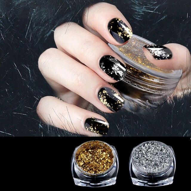Chrome Nail Powder Gel: Glitter Powder Shiny Chrome Pigment Decorations Gold