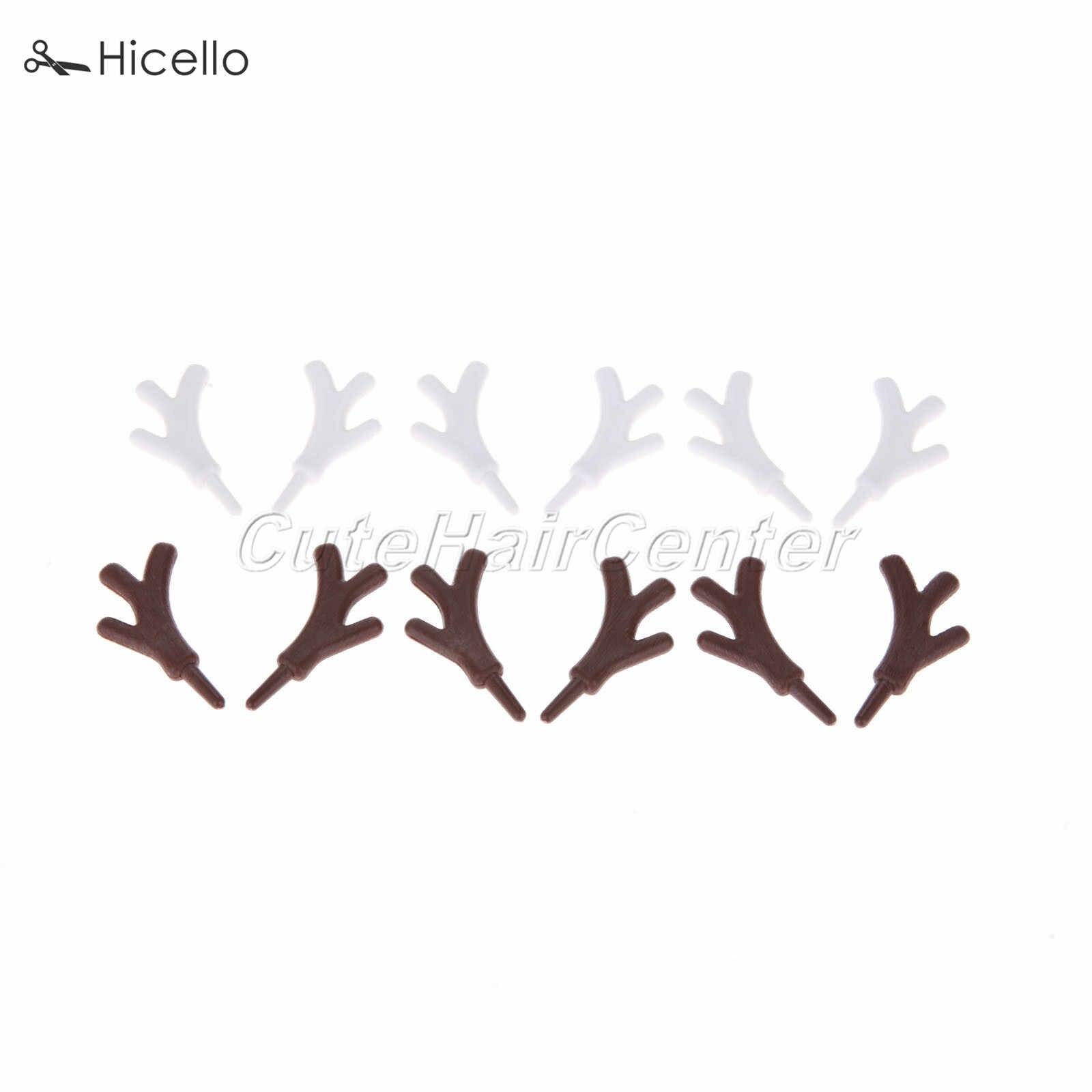 20 sztuk z tworzywa sztucznego oddział poroża drogi rogi 45*25 MM biała kawa DIY opaska do włosów boże narodzenie bałwan Holiday Festival Party dekoracji