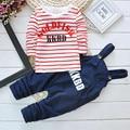 Otoño Invierno Ropa de Bebé Establece Niños Monos Pantalones Romper + Striped Pullover Camiseta de Manga Larga Twinset Ropa Fijada