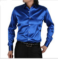2017 New style men Very good quality long sleeve business leisure silk shirt men Cultivate one's morality shirt plus size S-5XL