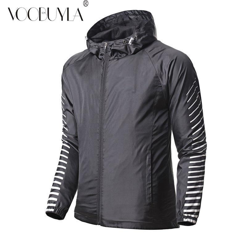 Men Full Zip Running Sports Jacket Hood Thumb Holes Reflective Top Light Gym Top