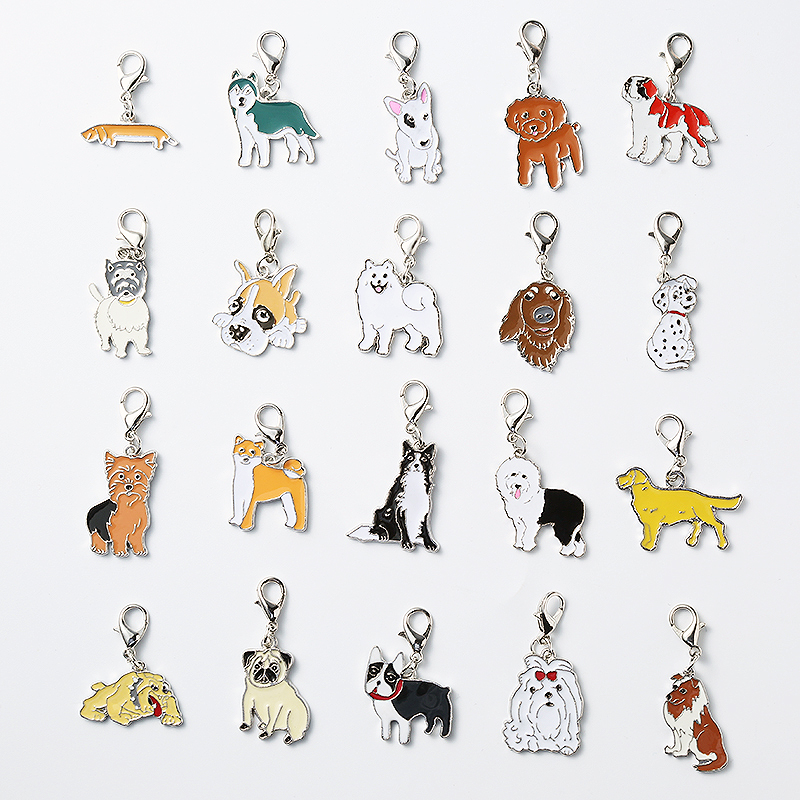 5PCS/LOT French Bulldog Wholesale Cat Dogs Pet pendant friends gifts Keyring Jewelry Bag ...