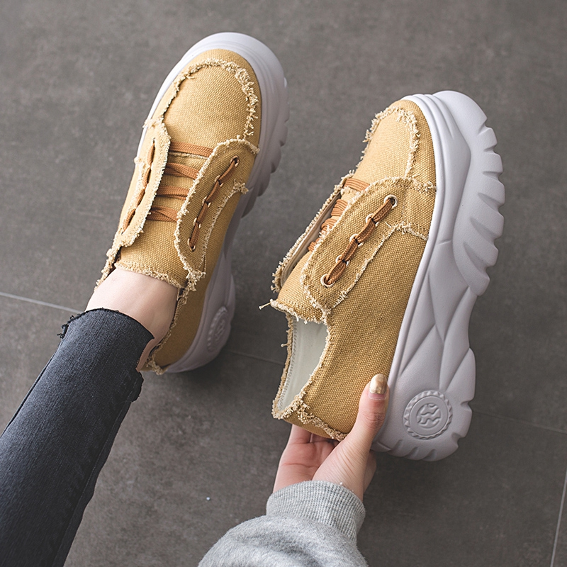COOTELILI Spring Autumn Sneakers Women Flat Platform Casual Canvas Shoes Woman Creepers Lace up Breathable Women