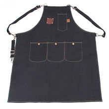 Long Black Denim Bib Apron Barber Stylist Florist Painter Carpenter Work Wear Barista Cafe BBQ Chef Baker Catering Uniform K22