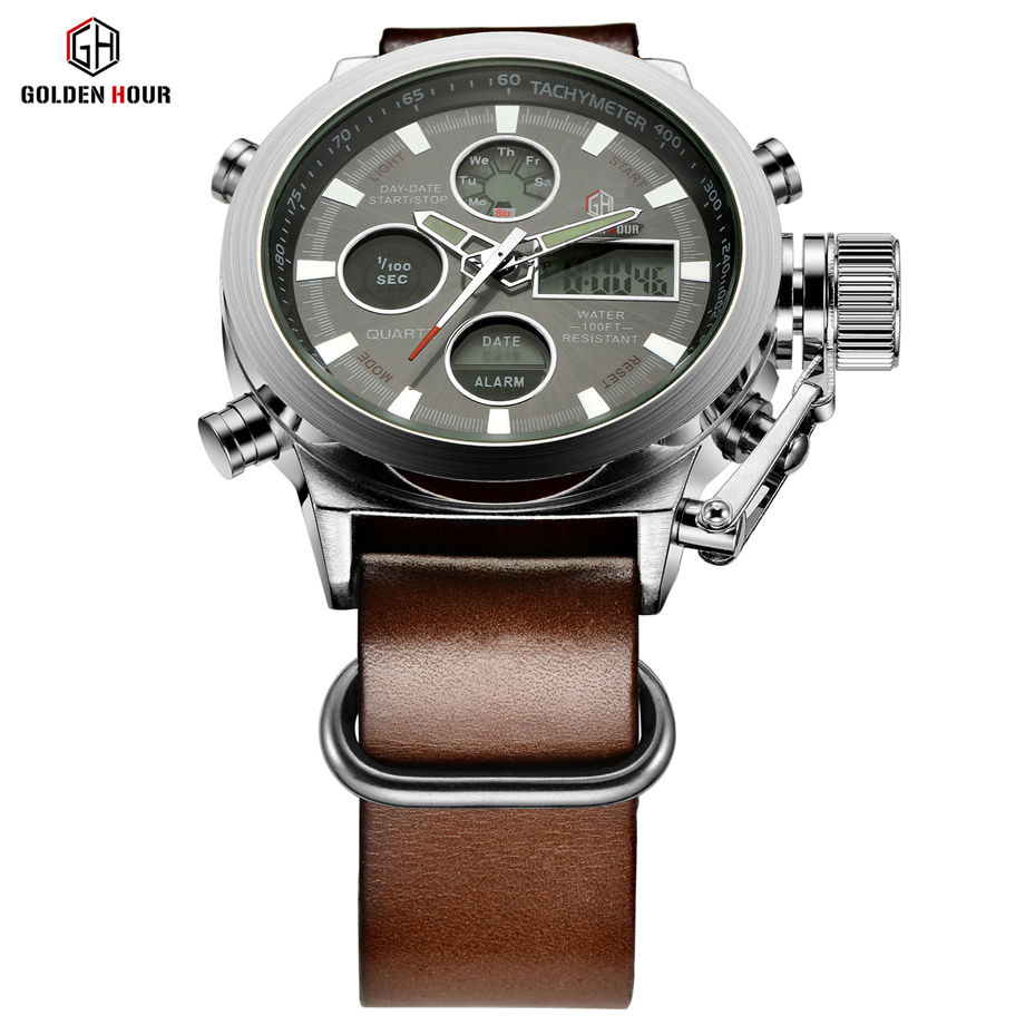 Relogio Masculino Luxury Brand Men Watches Men's Quartz Hour Analog Digital LED Sports Watch Men Army Military Wrist Watch