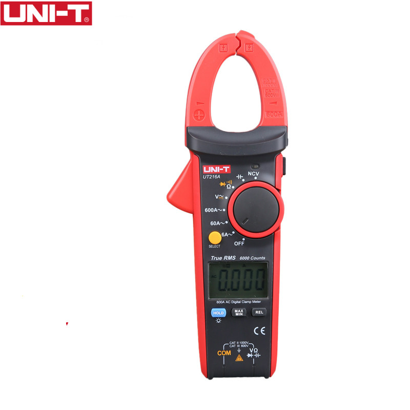 UNI-T UT216A 600A Digital Clamp Meters AC Current NCV Tester V.F.C Diode LCD Display Work Light AUTO Range MultimetersUNI-T UT216A 600A Digital Clamp Meters AC Current NCV Tester V.F.C Diode LCD Display Work Light AUTO Range Multimeters