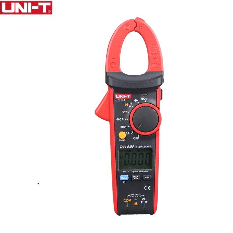 UNI-T UT216A 600A pince numérique mètres DC courant NCV testeur V.F.C Diode LCD affichage lumière de travail gamme automatique multimètres