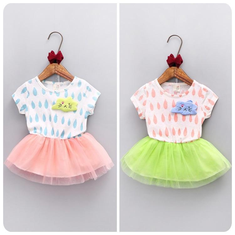 Korean Children's Garment 2016 Summer New Style Girl Baby Cartoon Split Joint Yarn Dress Girl Canopy  A Doll
