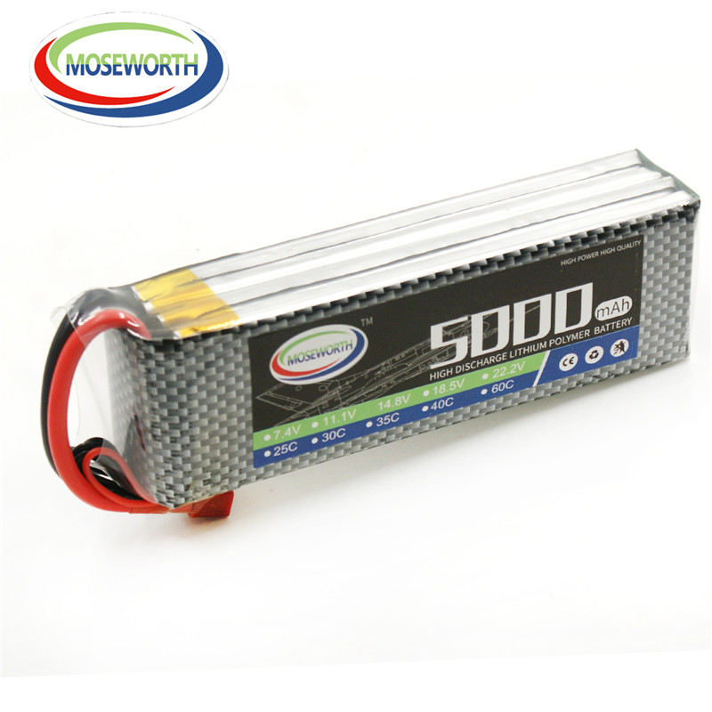 MOSEWORTH RC Lipo Battery 6S 22.2V 5000mAh 30C For RC Drones Boat Airplane Helicopter AKKU Batteria 1s 2s 3s 4s 5s 6s 7s 8s lipo battery balance connector for rc model battery esc