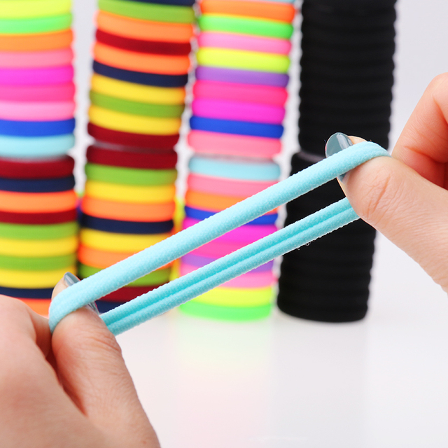 20pcs/lot Candy Fluorescence Colored Hair Holders High Quality Rubber Bands Hair Elastics Accessories Girl Women Tie Gum