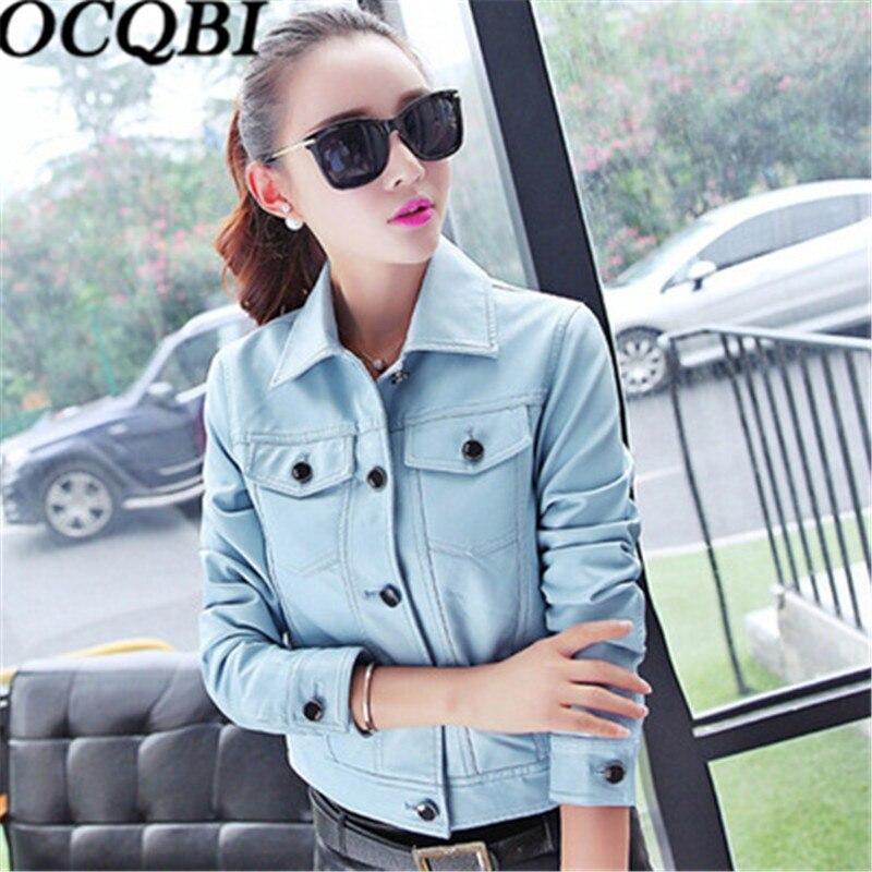 2018 Solid Blue Bombers Jacket PU Leather Motor Korean Coat Short Section Slim Coat New Style Fashion Leather Youth Ladies