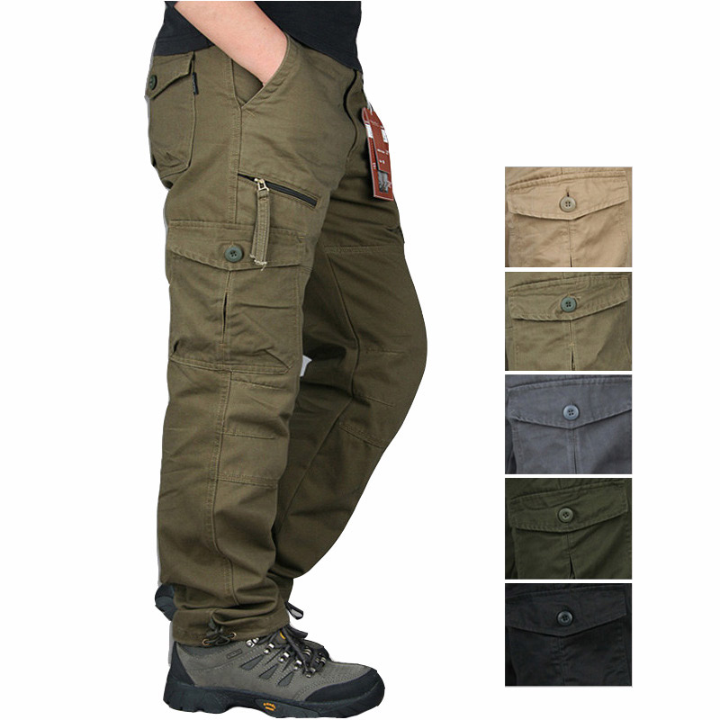 2019 Winter Cotton Tactical Pants Men Zipper Streetwear Army Trousers Cargo Military Pants Men Casual Overalls Pantalon Tactico