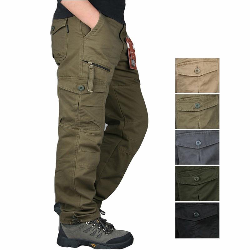 Táticas dos Homens Calças do Exército Militares dos Homens Inverno Algodão Calças Zíper Streetwear Carga Casuais Macacão Pantalon Tactico 2020