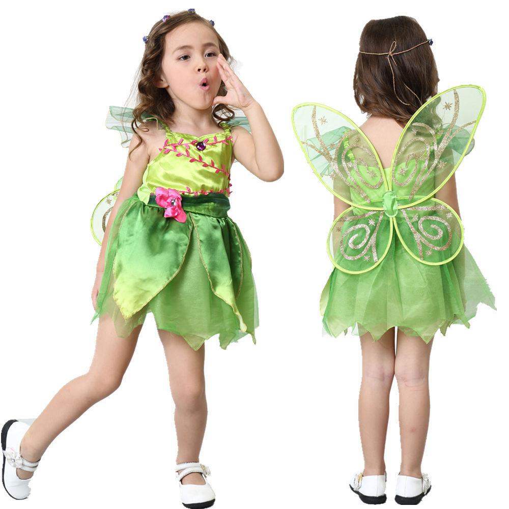 Green Tinkerbell Fairy Costume Tinker Bell Princess Fancy Dress with wing Halloween Cosplay Clothing (include wing)