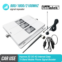 Car Use Tri Band Signal Booster GSM 900 UMTS 3G 2100 LTE 1800 Mobile Signal Repeater Cellular Amplifier 4G Car Kit Set S7
