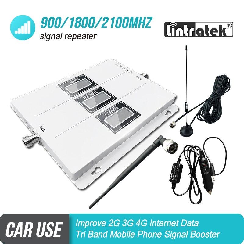 O Uso do carro Banda Tri Reforço De Sinal GSM 900 UMTS 3G 2100 LTE 1800 Móvel Repetidor De Sinal Amplificador de Celular 4G Carro Conjunto Kit S5