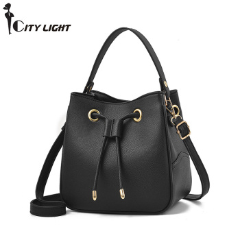 New Women shoulder bag Large capacity draw string bucket Handbags Quality PU leather Women's Totes Shopping Bag bolsa