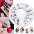 36 Unids/caja Joya de Piedra Del Arte Del Clavo para 3D Nail Art Decoration 6 cm Uñas Rueda Shell Pieza de Diseño de Uñas accesorios