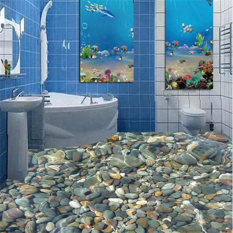 beibehang modern sticker 3d floor painting bathroom mural hd color natural stone non slip. Black Bedroom Furniture Sets. Home Design Ideas