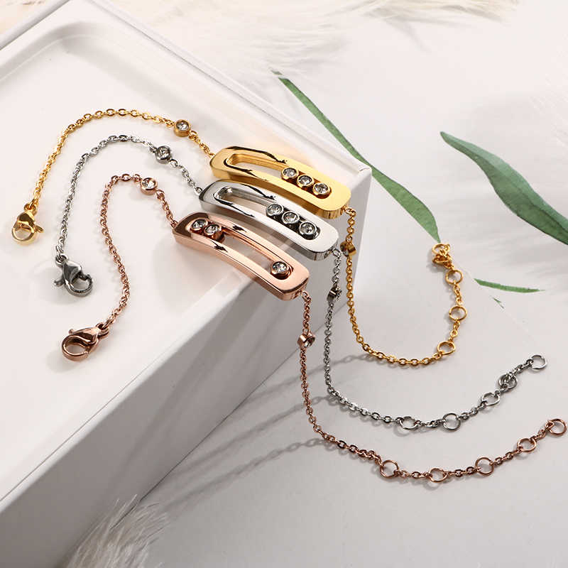 Crystal Link & Chain Bracelets Bangles Personalized Bead CZ Geometric Gold Color Bar Bracelets Hand Chain for Women Jewelry