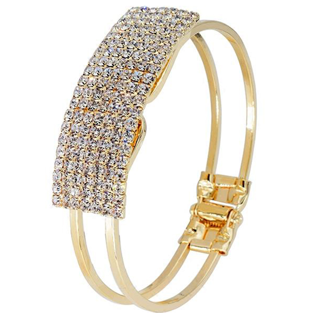 Luxury Full Rhinestone Inlaid Hollow Band Cuff Bangle Bracelet Women Jewelry hot new in Bangles from Jewelry Accessories