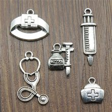 Medicine Charms Syringe Charms Pendants Jewelry Making Stethoscope Nurse Cap Charms Antique Silver Color(China)