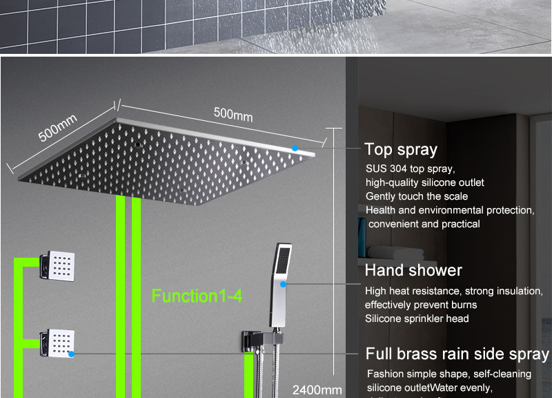 hm Thermostatic Mixer Contemporary 20 Inch Shower Set system Rainfall Mist Shower With 3 Pcs Body Jets 2inch Wall Mounted (12)