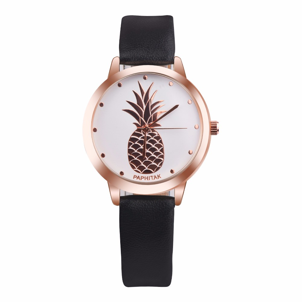 Hot Sale Womens Pineapple Watch Fashion PU Leather Strap Simple Analog Quartz Wrist Watches Ladies Elegant Casual Clock #LH