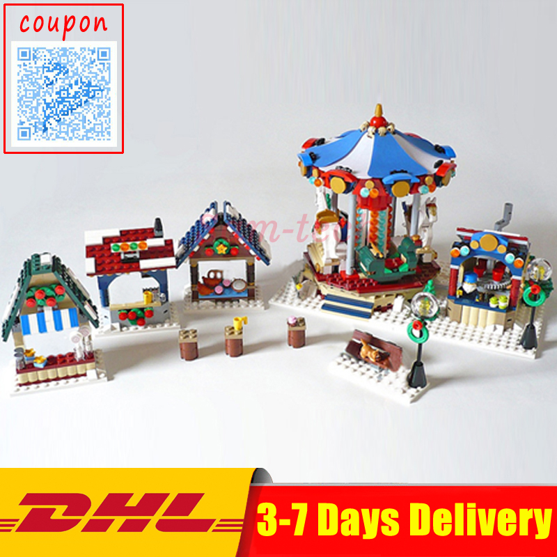 Lepin 36010 The Winter Village Market Set DIY Creative Series 10235 Building Blocks Bricks Educational DIY Toys Christmas Gifts lepin 36010 genuine creative series the winter village market set legoing 10235 building blocks bricks educational toys as gift
