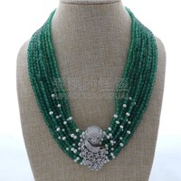 N122705 18 9 Strands Green White Pearl Necklace CZ Pave Connector