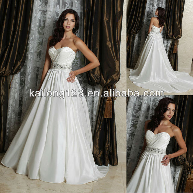 Popular Sweetheart Ball Gown Chapel Train Beaded Gems Belt Taffeta Free  Shipping Wedding Dress 2013 b3870e49aeec