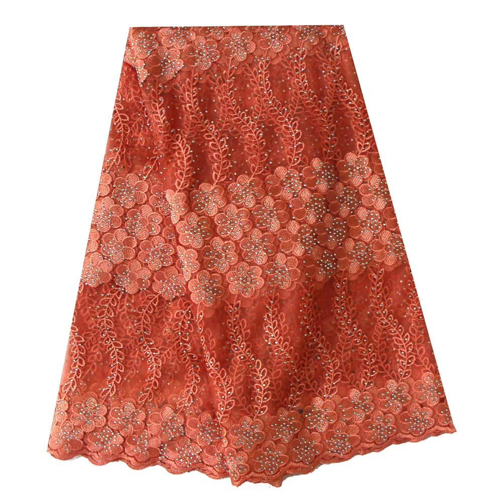 Ourwin Peach Color African Lace Fabric 2018 High Quality French Tulle Lace Fabric With Stones Lace Fabric For Wedding PartyOurwin Peach Color African Lace Fabric 2018 High Quality French Tulle Lace Fabric With Stones Lace Fabric For Wedding Party
