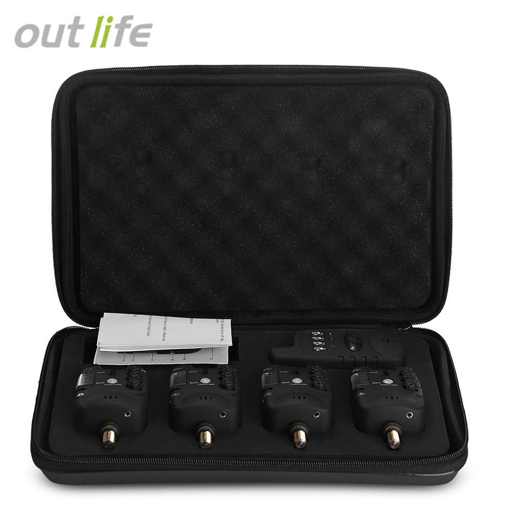 Outlife JY - 27 Wireless Fishing Bite Alarm Set with Receiver Case Wireless Fishing LED Bite Alert Receiver Set  2017 NEW new restaurant equipment wireless buzzer calling system 25pcs table bell with 4 waiter pager receiver
