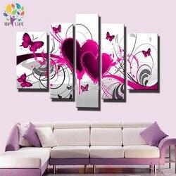 Ręcznie malowane na płótnie obraz do sypialni dekoracji obraz nowoczesny czerwony różowy serce obraz olejny na płótnie Wall Art motyl w miłości w Malarstwo i kaligrafia od Dom i ogród na
