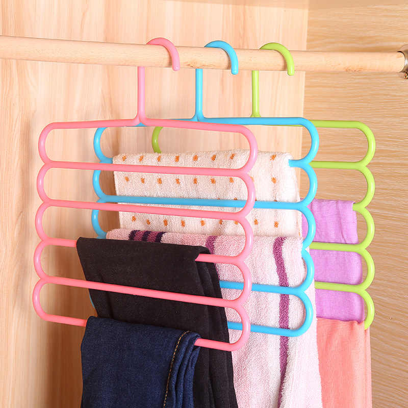 5 طبقات عدم الانزلاق متعددة الوظائف علاّقات ملابس السراويل تخزين الشماعات شماعة ملابس متعدد الطبقات تخزين وشاح رف مربوط شماعات 1 قطعة