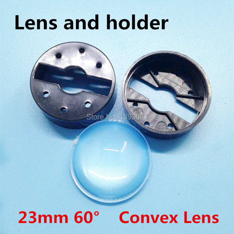 50set/lot LED Lens 23mm 60 degree with Black holder set sell bracket optical car lenses Semicircular Convex power lens