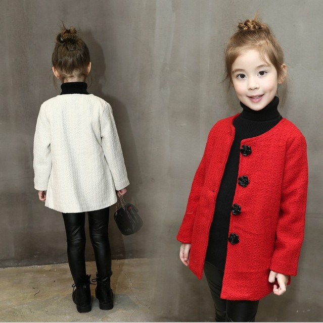 Kids Winter Coats Girls Jacket Infant Overcoat Flowers Buttons Solid Color Children Outerwear European Style Designer Girls 2-6y