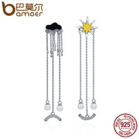 BAMOER Trendy 925 Sterling Silver I Love Sunny Day Weather Long Tassel Drop Earrings For Women