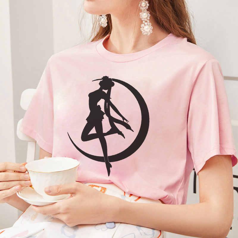 Estate 2019 Nuovo Arrivo Carino Sailor Moon Anime Stampa Femminile Tshirt Giapponese Vestiti Harajuku Kawaii delle Donne T-Shirt di Moda Magliette e camicette
