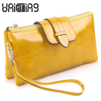 Fashion brand zipper hasp Genuine Leather Long women wallets Small fresh large Capacity Chain Solid color mini messenger bag