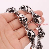 24 15mm New Arrival Men S Cool Punk Skull Heads Necklace 316L Stainless Steel High Quality