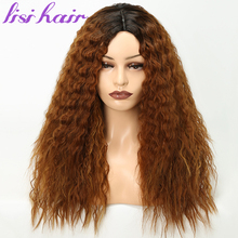 LISI HAIR 22 Inchs For Black Women Hair Water Wave Long Ombre Black/Brown Synthetic Wigs African American hairstyle