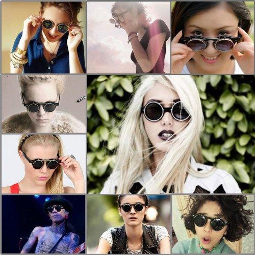 Circle Flip Up Sunglasses  aliexpress com sunglasses men 2 layer fashion flip up black