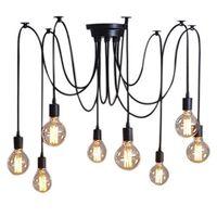 High Quality 8 Lights Vintage Edison Lamp Shade Multiple Adjustable DIY Ceiling Spider Lamp Pendent Lighting Chandelier Modern