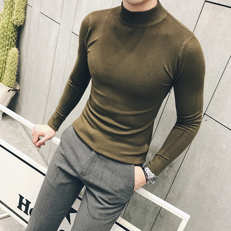 MRMT 2019 Brand Autumn New Knitting Men's Sweater Pullover For Male Half High Collar  Sweater