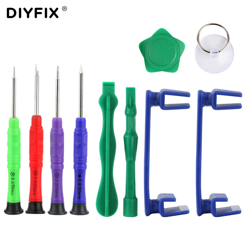 DIYFIX 10 in 1 Phone Opening Repair Tools Kit Phone Rotary Stand Holder Screwdriver for iPhone Samsung Electronic Hand Tools Set