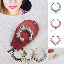 Charming Alloy Crystal Fake Nose Ring Septum Nose Hoop Rings Piercing Body Jewelry for Women Gift M8694