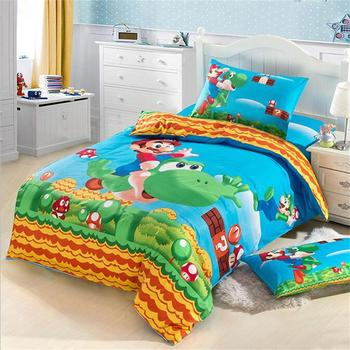 Japanese Kids Character Super Mario Bedding Set Pure Cotton Printed Fabric Single Bed Sheets Pillowcase Duvet Cover for Children