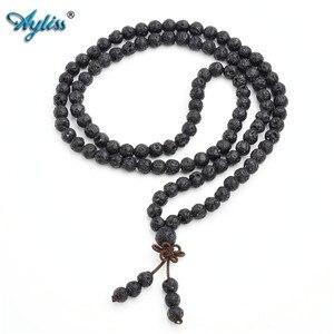 Image 2 - Ayliss Drop Schiff Lava Stein Diffusor Armbänder 108 Perlen Reiki Healing Balance Buddha Gebet Männer Frauen Armband Halskette Schmuck