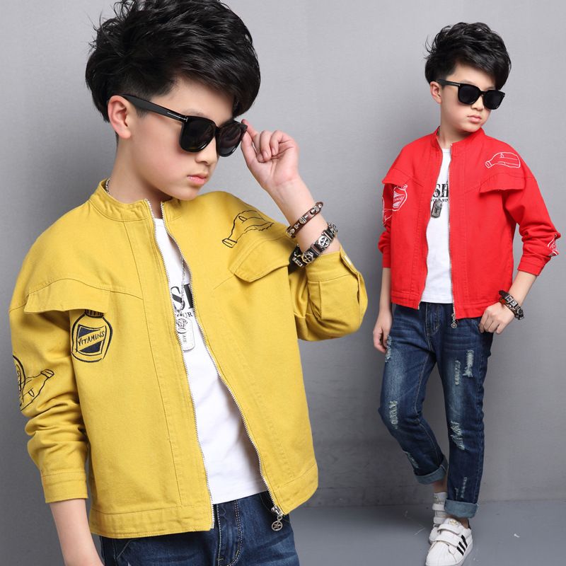 ФОТО Kids boys spring / autumn jacket 2017 new baby boys fashion clothing big virgin stand on another coat 4/5/6/7/8/9/10/11/12/13/14